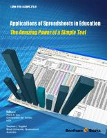 Bentham ebook::Applications of Spreadsheets in Education The Amazing Power of a Simple Tool