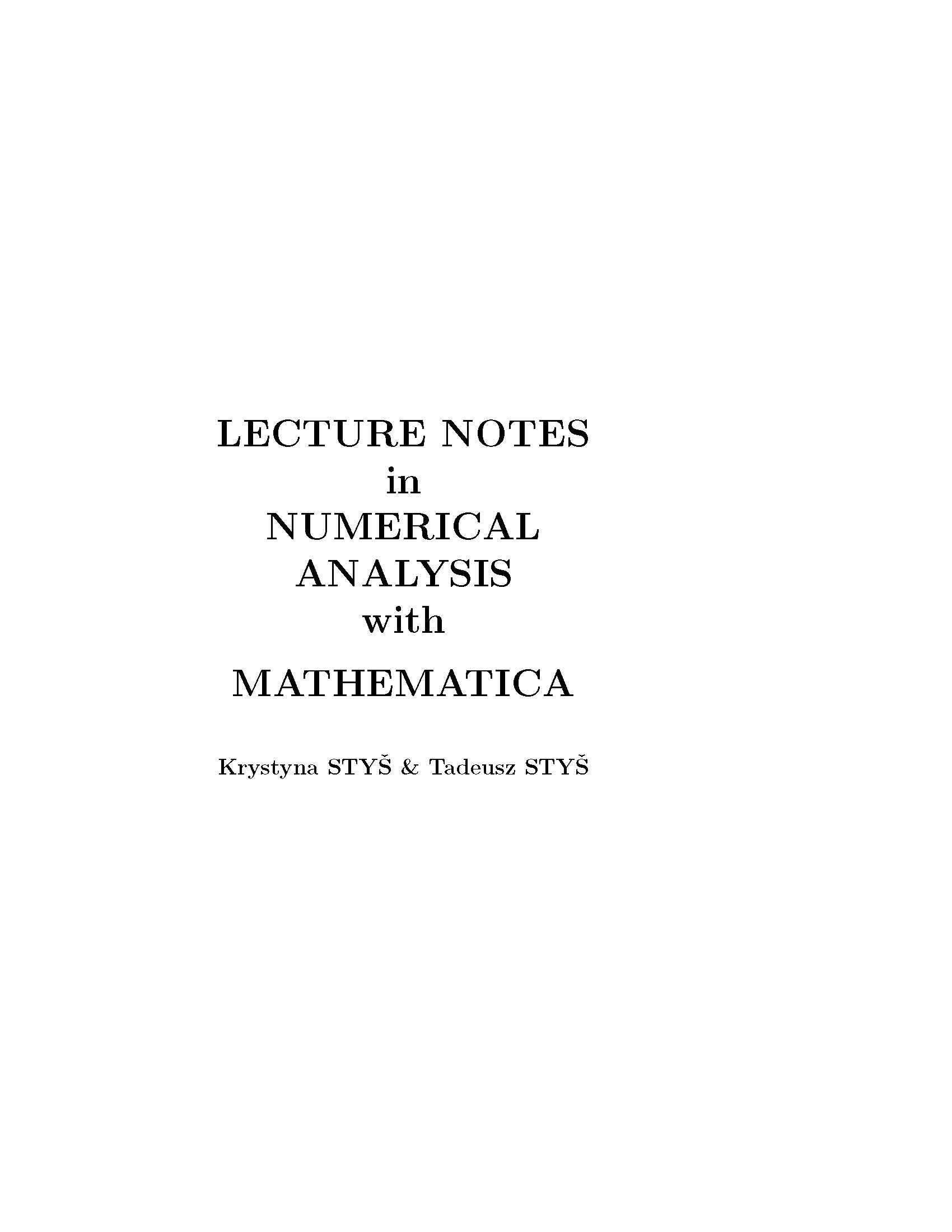 Sample - Lecture Notes in Numerical Analysis with Mathematica